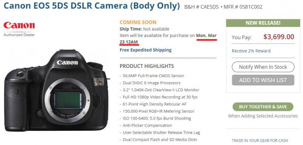 Canon EOS 5Ds & 5Ds R will be Available for Pre-order on March 23