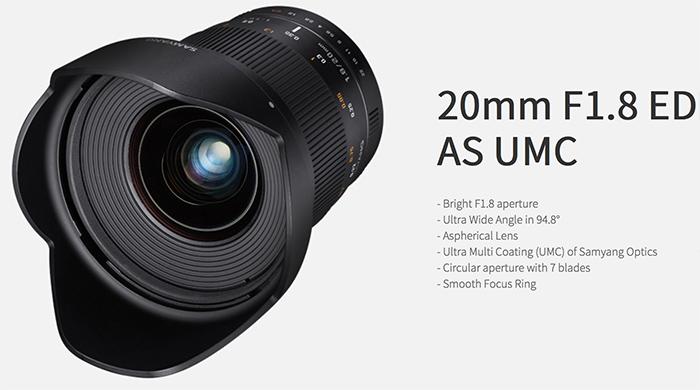 Samyang Announced 20mm f1.8 ED AS UMC Lens for Full Frame DSLR Cameras