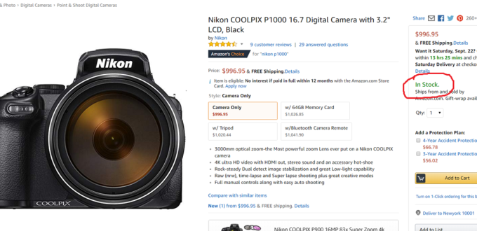 Nikon COOLPIX P1000 Deals / Cheapest Price | Camera Times