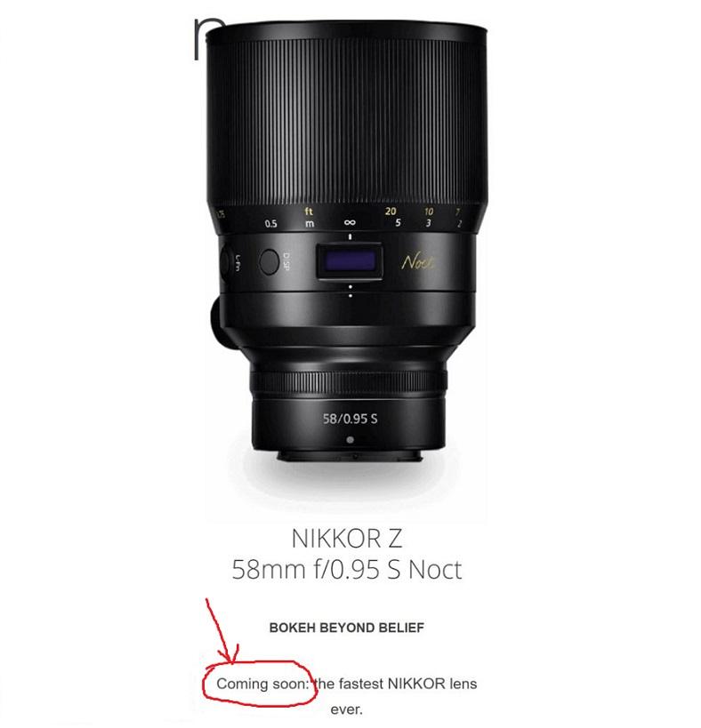 Nikon USA Confirmed NIKKOR Z 58mm f/0 95 S Noct Lens Coming Soon