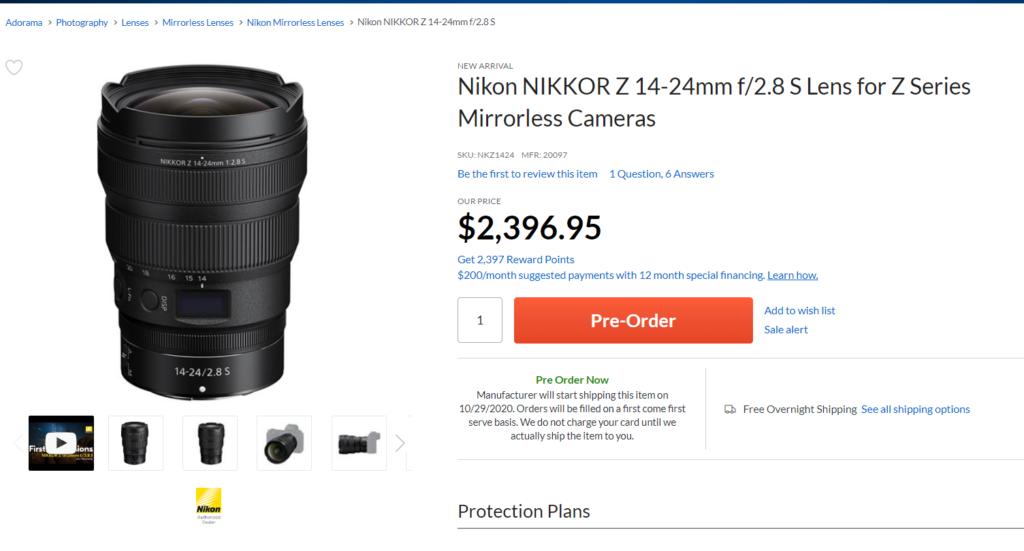Nikon NIKKOR Z 14-24mm f/2.8 S Lens Will Start Shipping on October 29